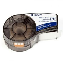 Лента для принтера этикеток Brady винил, 9.53mm/6.4m. Белый на Зеленом. (M21-375-595-GN)