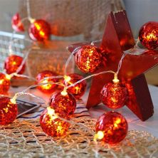 Гирлянда ColorWay Светодиодная Christmas lights ball 6 см 10 LED 1.5 м USB Red (CW-MC-LB10U)