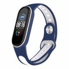 Ремешок для фитнес браслета BeCover Sport Style для Xiaomi Mi Smart Band 5 Blue-White (705171)