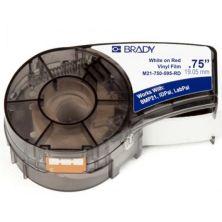 Лента для принтера этикеток Brady M21-750-595-RD vinyl, 9.53mm/6.4m. White on Red (M21-750-595-RD)