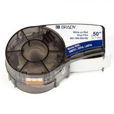 Лента для принтера этикеток Brady винил, 12.7mm/6.4m. Белый на красном (M21-500-595-RD)