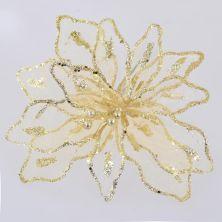 Украшение декоративное YES! Fun Цветок пуансеттии полупрозрачный золотой, 28*28см (750291)